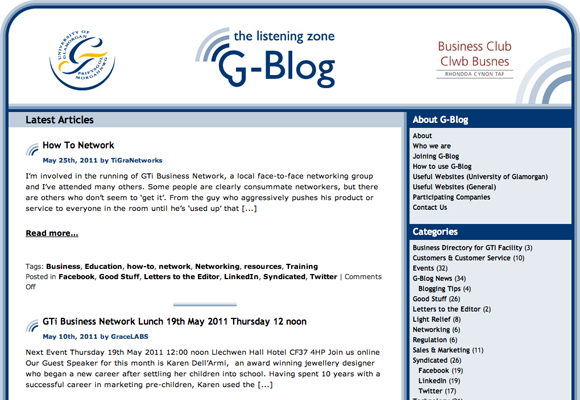 G-Blog website screenshot