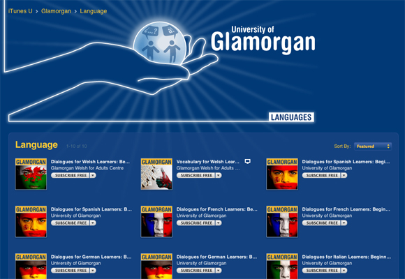Glamorgan's iTunes U language content page