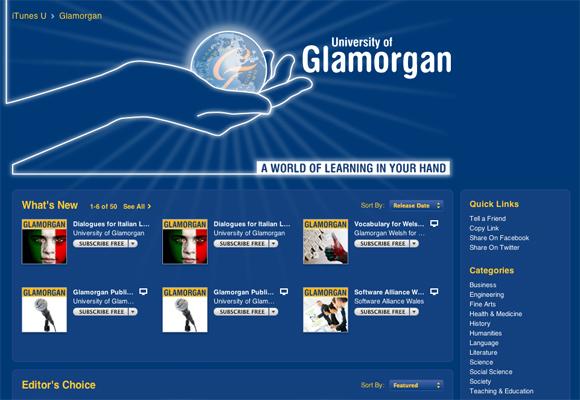 Glamorgan's iTunes U provider page