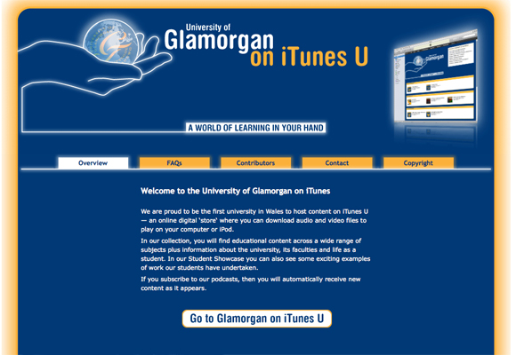 University of Glamorgan's iTunes U support site