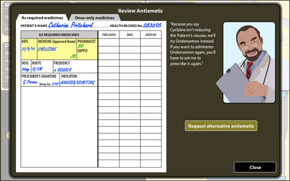 VPM: Anitemetic Review Screen