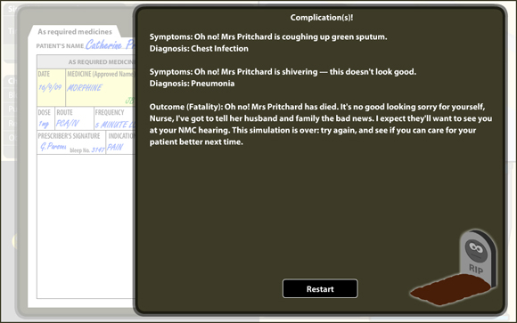 VPM: Patient Death Screen