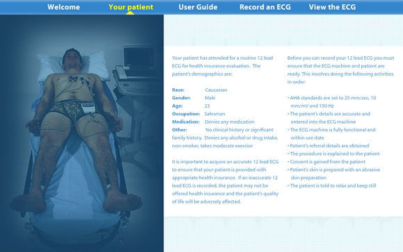 Virtual ECG: Patient information