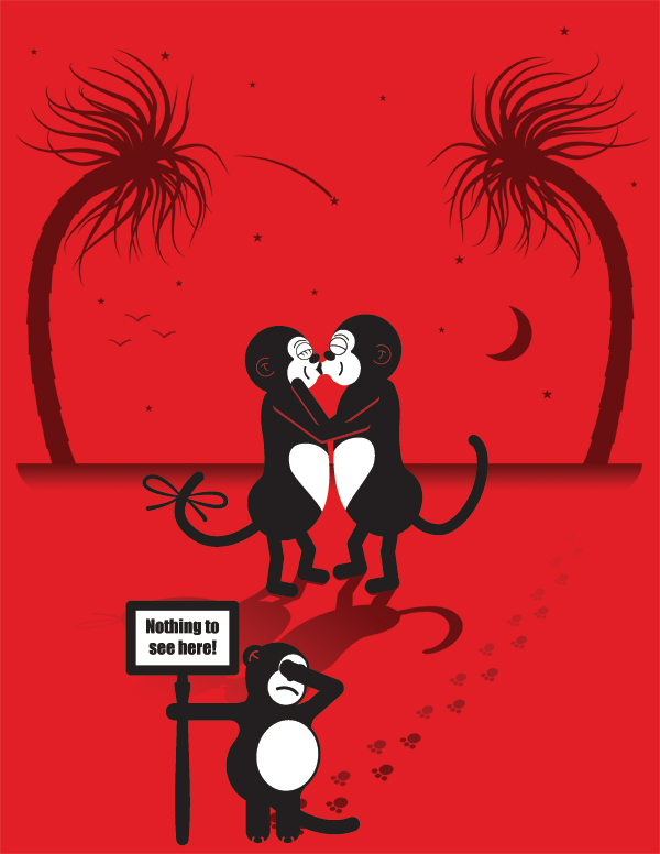 Monkey Love or: Only sick people want to watch my parents kiss