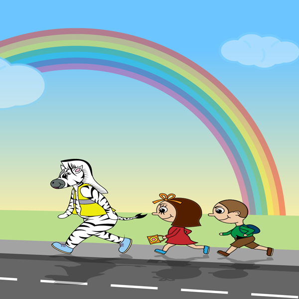 Zarla and kids walking to school