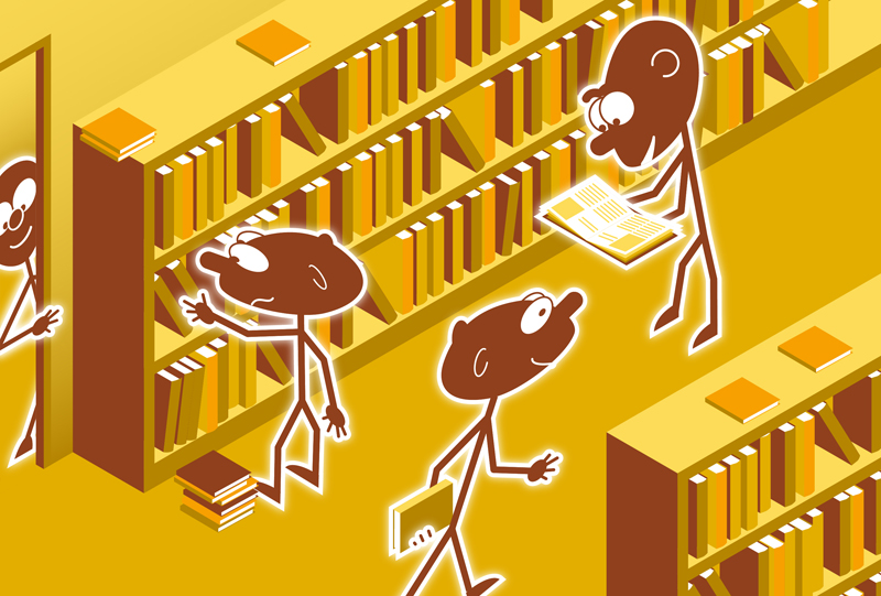 Illustration depicting people in a library